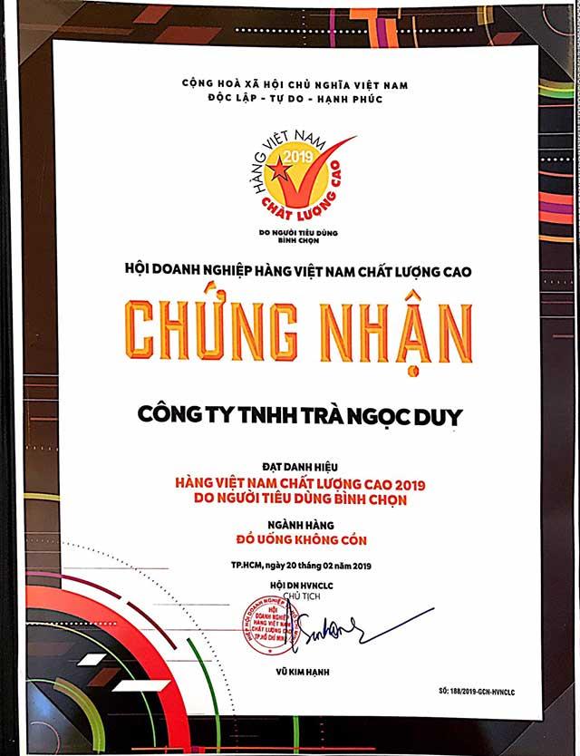 Giấy chứng nhận Hàng Việt Nam Chất Lượng Cao Ngọc Duy